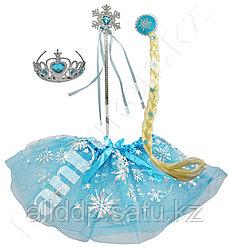 """Набор аксессуаров Эльза """"Холодное Сердце"""" (Ободок с короной, волшебная палочка, юбка и коса)"""