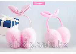 Регулируемые меховые наушники с бантиком розовые