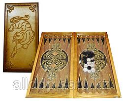 Настольная игра деревянные нарды (+шашки) с гравировкой Тигр 60х30 см
