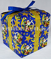 Подарочная новогодняя упаковка 17.5хp7.5 см (синяя)