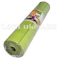 Коврик для йоги и фитнеса (йогамат) 6 мм двухсторонний зеленый