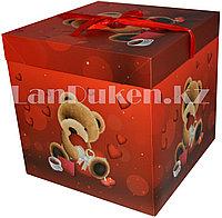 Подарочная новогодняя упаковка 30х30 см (Макси) Медвежонок