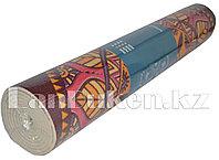 Коврик для йоги и фитнеса (йогамат) 6 мм темно-фиолетовый принт цветочки