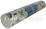 Коврик для йоги и фитнеса (йогамат) 6 мм белый принт геометрический