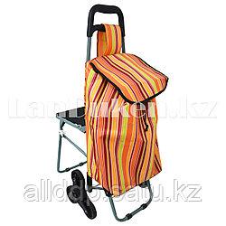 Складная сумка тележка шагающая + стульчик 2 в 1 на колесах для лестниц (оранжевая)