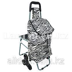Складная сумка тележка шагающая + стульчик 2 в 1 на колесах для лестниц (зебра)