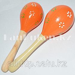 Музыкальный инструмент Маракасы оранжевые 2 штуки
