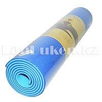 Коврик для йоги и фитнеса (йогамат) 6 мм двухсторонний синий