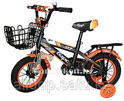 Детский велосипед Барс 12-074 с дисковым тормозом и металлическими крыльями оранжевый