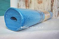 Коврик для йоги и фитнеса (йогамат) 3 мм синий принт линии
