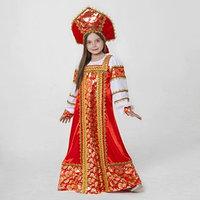 Русский народный костюм 'Любавушка', платье-сарафан, кокошник, р-р 34, рост 134 см, цвет красный