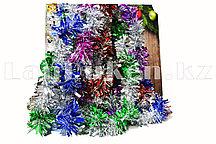 Мишура пушистая разноцветная 10 шт в наборе (микс из двухцветной мишуры: длина 180см x ширина 5см)