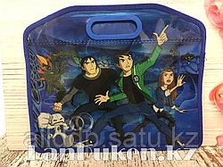 Детская папка-портфель с встроенными пластиковыми ручками Бэн Тэн (Ben 10) формат A4 синяя