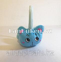 Меховые наушники детские с кошками голубые