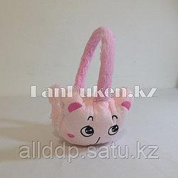 Меховые наушники детские с кошками светло-розовые