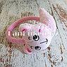 Меховые наушники детские с кошками светло-розовые, фото 3