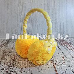 Меховые наушники детские с бантиком желтые