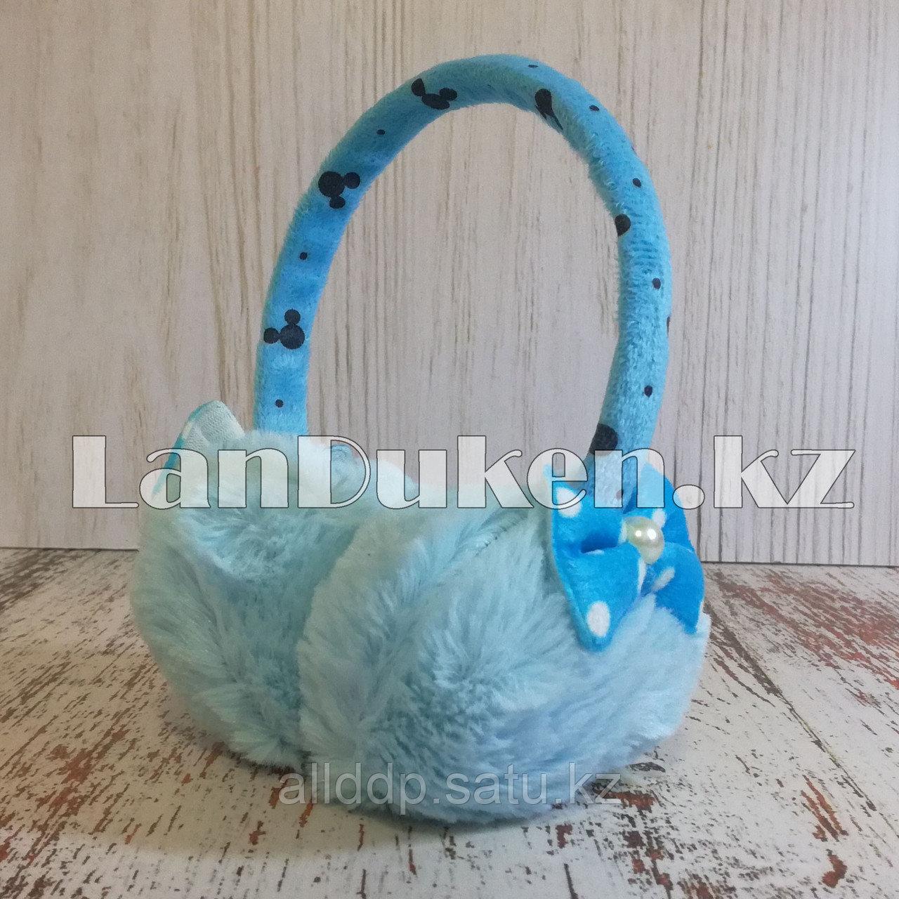 Меховые наушники детские с бантиком голубые