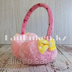 Меховые наушники детские с бантиком светло-розовые