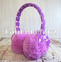 Меховые наушники детские с бантиком фиолетовые