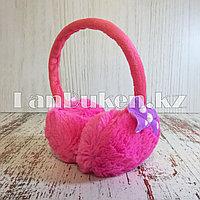 Меховые наушники детские с бантиком розовые