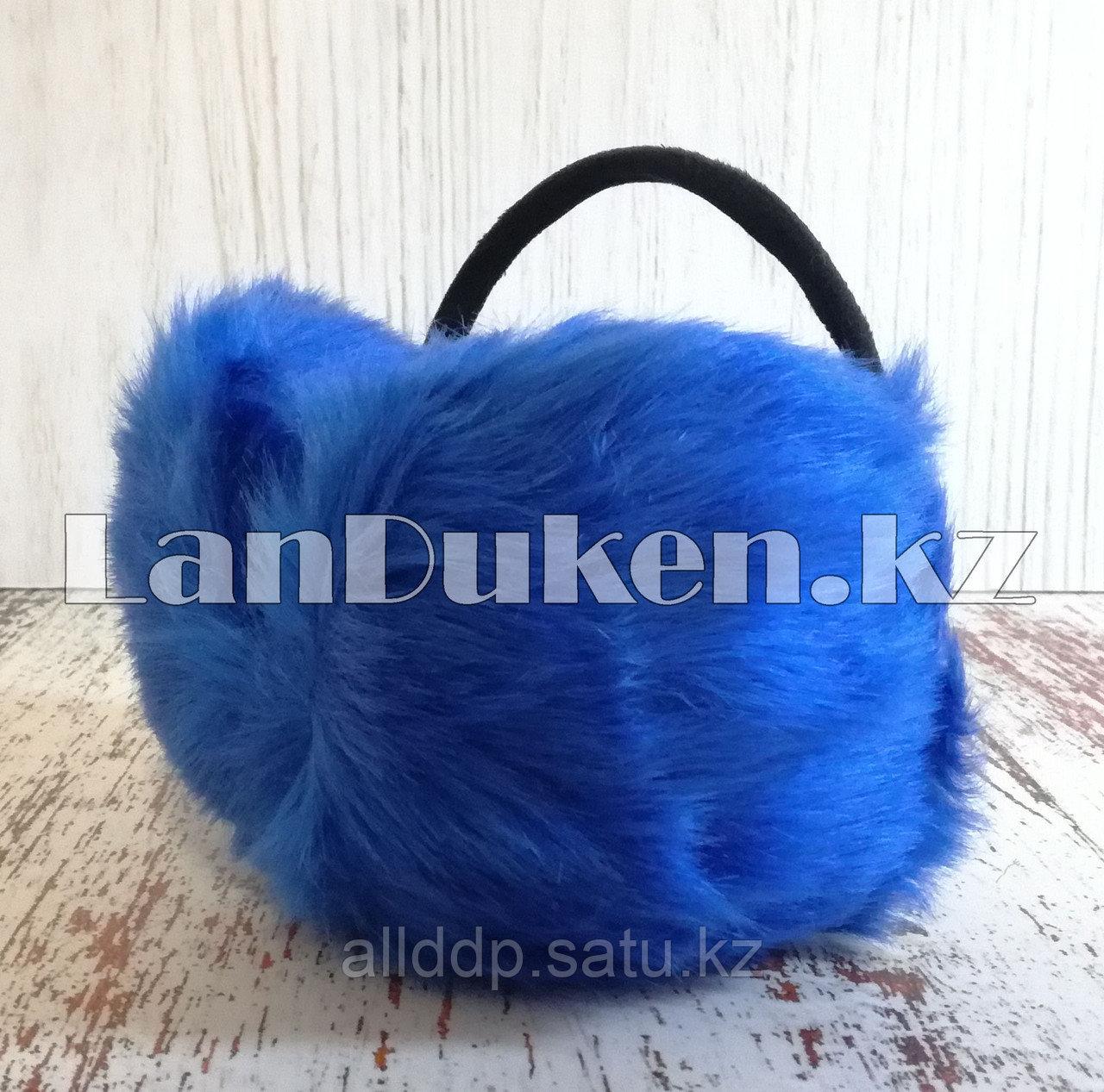 Меховые наушники с ободком сзади синие