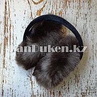 Меховые наушники складные коричневые (01)