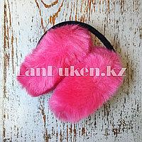 Меховые наушники складные розовые (01)