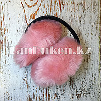 Меховые наушники складные светло-розовые (01)