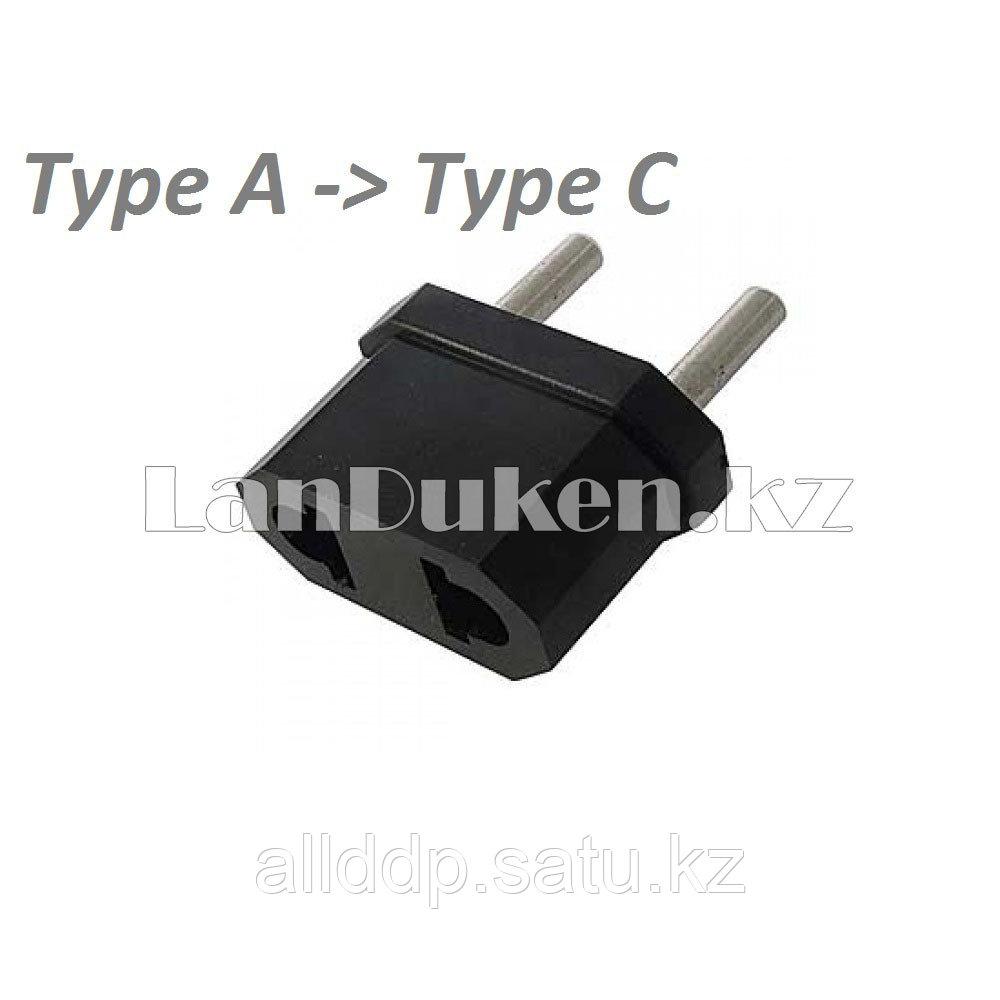 Сетевой переходник для электрических вилок Type C, A черный