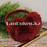 Меховые наушники с бантиком украшенный пайетками 18815-13 красные, фото 4