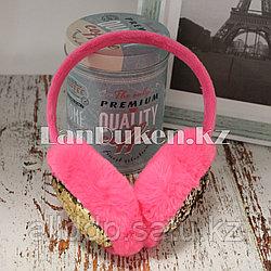 Меховые наушники с двухцветными пайетками 18815-6 темно-розовые