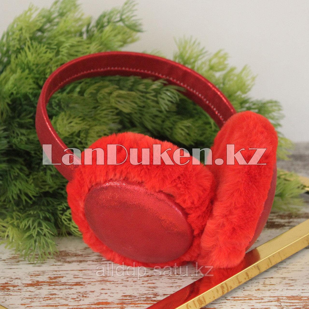 Меховые наушники с переливающейся тканью 18815-6 красные