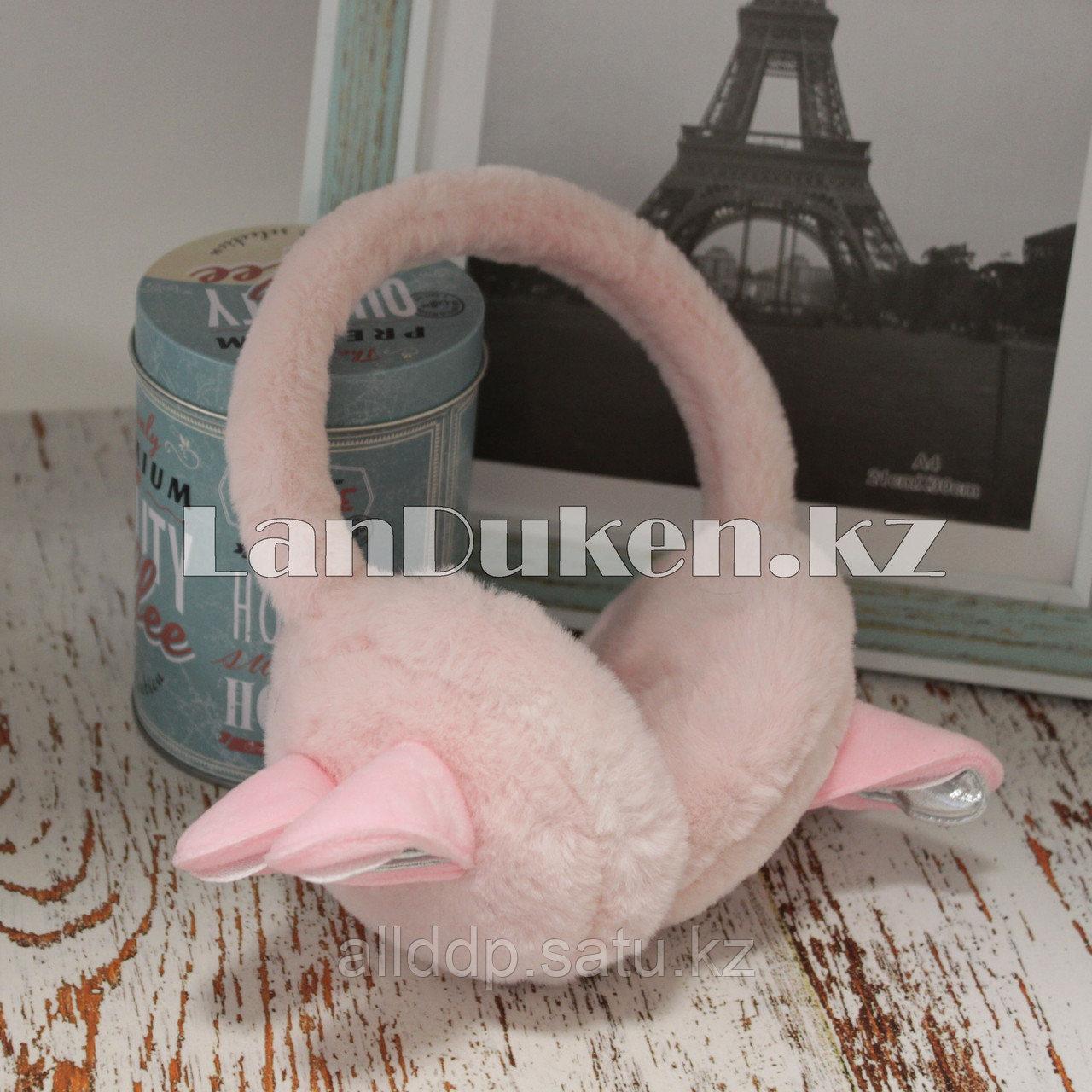 Меховые наушники с ушками зайца 18815-7 розовые