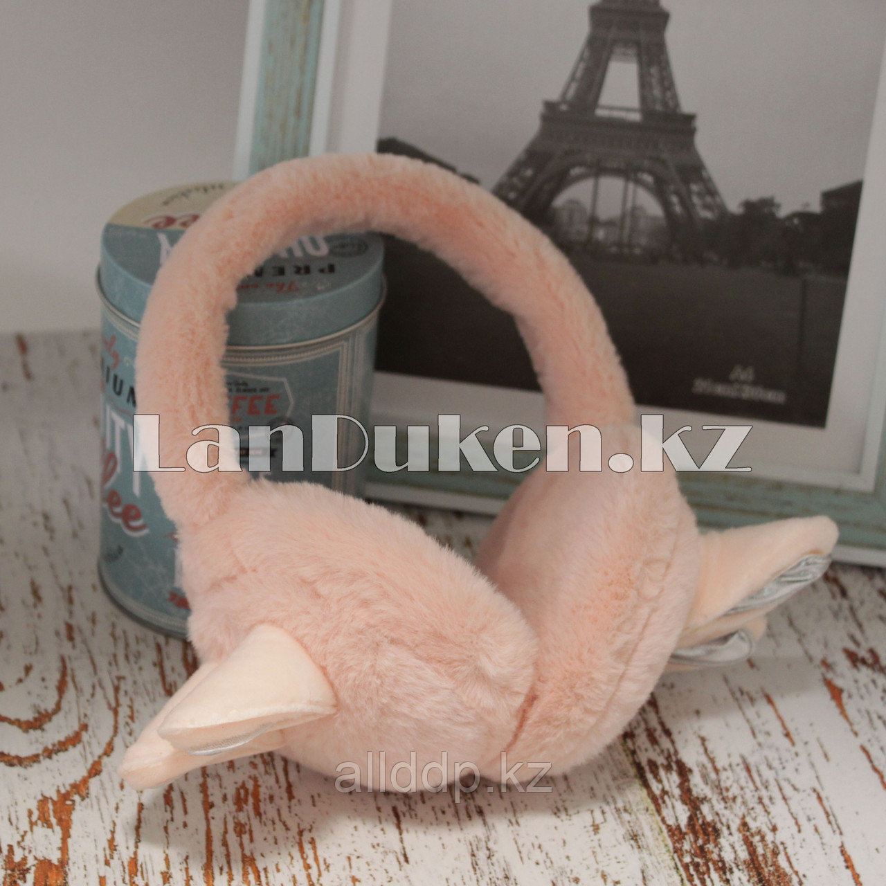 Меховые наушники с ушками зайца 18815-7 светло-розовые