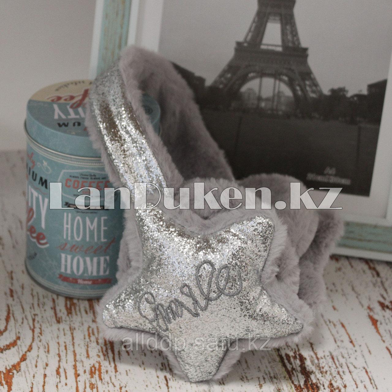 Меховые наушники со звездами и блестками 18815-7 серебристые