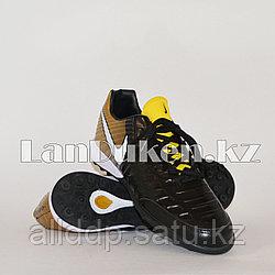 Футбольные бутсы (сороконожки) Tiempo с шиповкой TF размеры 40-44 черно-золотые