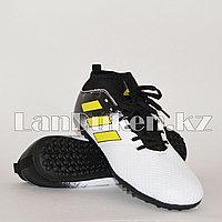 Футбольные бутсы (сороконожки) с носком с шиповкой TF размеры 40-44 черно-белые