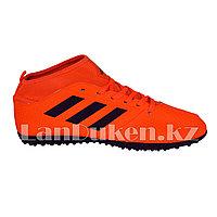 Футбольные бутсы (сороконожки) с носком с шиповкой TF размеры 40-44 черно-оранжевые 42