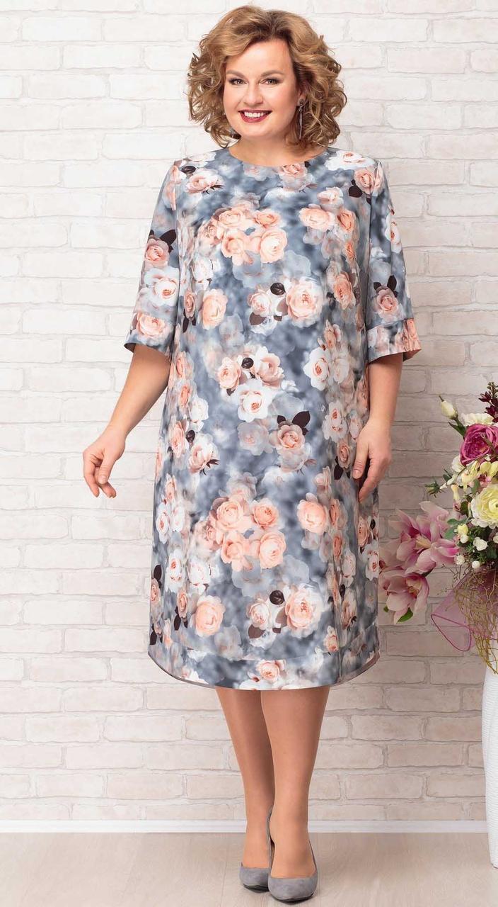 Платье Aira Style-730, пудра с серым, 60