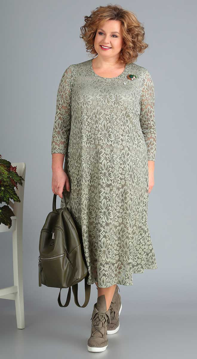 Платье Novella Sharm-3378, олива, 62