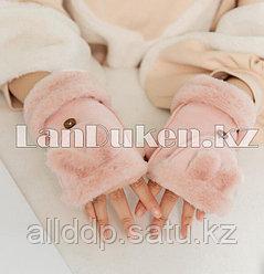 Варежки с откидным верхом с ушками темно-розовые