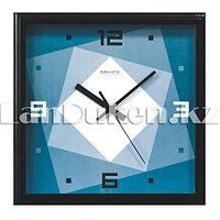 Настенные часы Салют синий с рисунком Абстракция