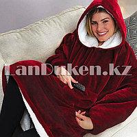 Плюшевый худи с капюшоном и с большими карманами бордовый (плед с рукавами)