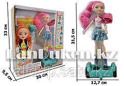 Кукла радиоуправляемая на гироскутере с аксессуарами высота куклы 28 розовая