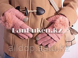 Зимние сенсорные перчатки  2 в 1 с варежками (розовая)
