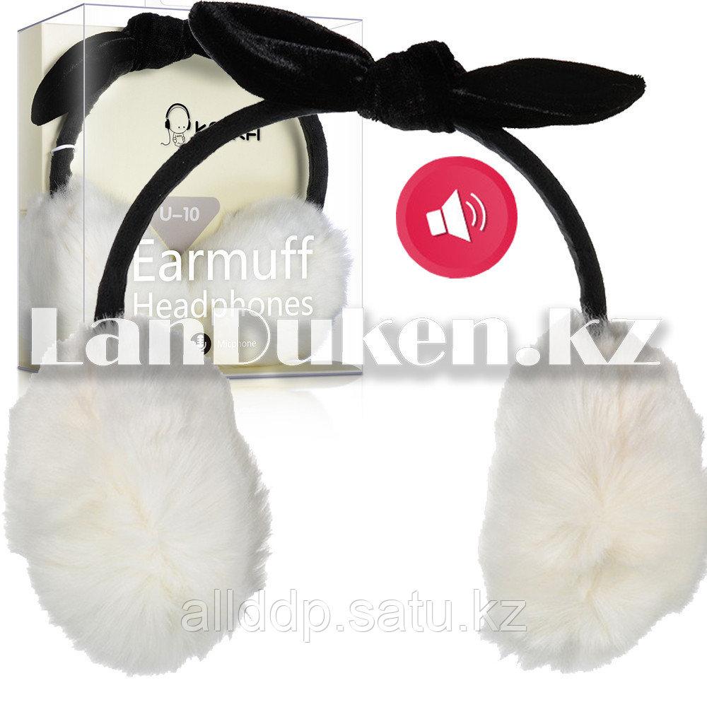 Меховые пушистые музыкальные  наушники с бантиком и микрофоном белые