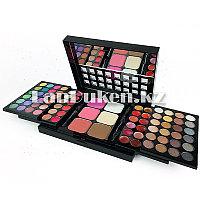 Профессиональная раздвижная палитра теней 3 слоя для век,губ и макияжа лица 78 цветов 4 кистей с зеркалом