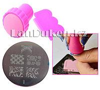 Набор для стемпинга ногтей m64 (пластина для дизайна ногтей, штамп, скребок)