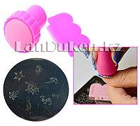 Набор для стемпинга ногтей B77 (пластина для дизайна ногтей, штамп, скребок)